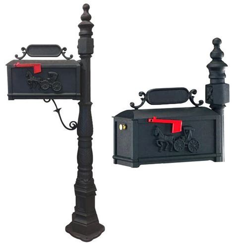 """Fabulous 62"""" Black Victorian Mailbox And Post Cast"""