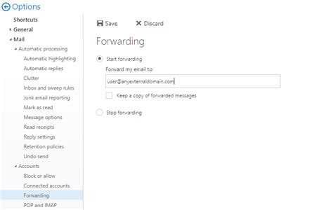 auto forwarder disable automatic forwarding for office