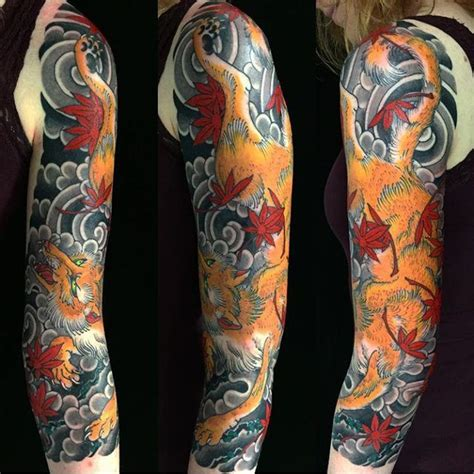 tattoo japanese fox my newly completed japanese fox 3 4 sleeve by stewart
