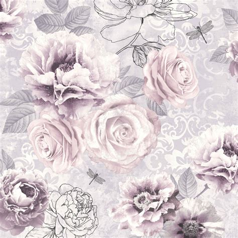 wallpaper designs b q graham brown fresco pink purple grey floral wallpaper