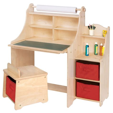 desk for with storage artistic activity desk w stool storage bins paper roll
