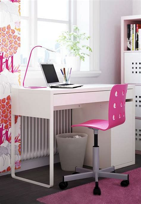 Ikea Computer Desk Chair Ikea Micke Computer Desk White For Home Office With Pink Chair Minimalist Desk Design Ideas