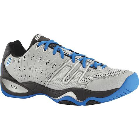 prince t22 s tennis shoe grey black royal