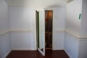 Sliding Hidden Bookcase Door Secret Passage Way Behind Full Length Mirror