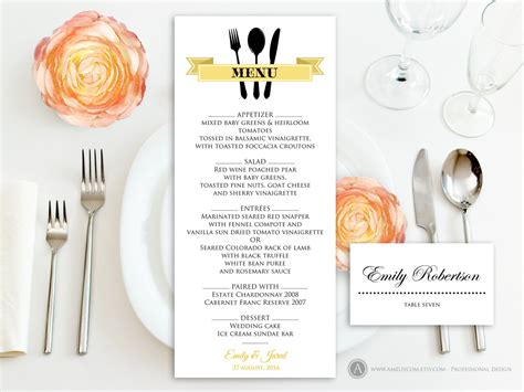 printable gold menu free place card template self print