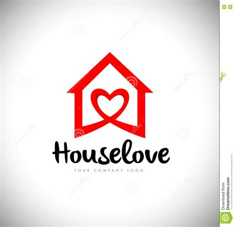 heart house real estate heart love logo house stock vector illustration of trendy icon 82334952