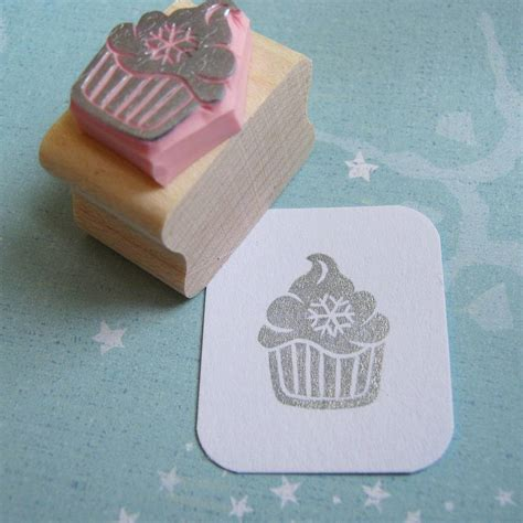 cupcake rubber st snowflake cupcake carved rubber st by skull and