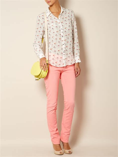 Maxmara Flamingo weekend by maxmara trau flamingo print blouse in white lyst