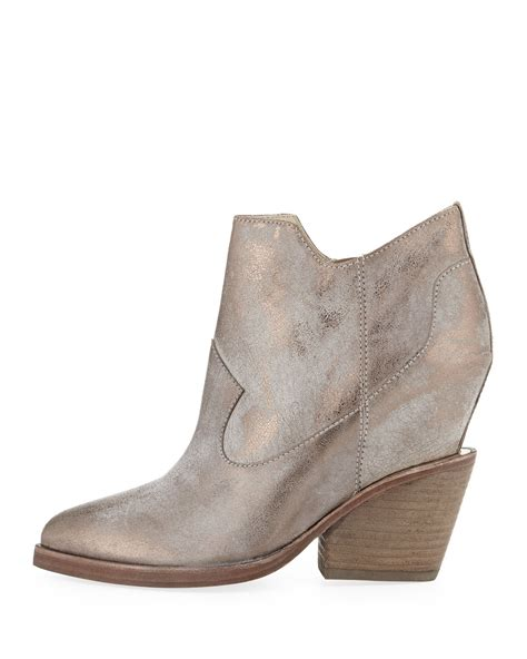ash lula metallic wedge ankle boot in beige taupe pewter