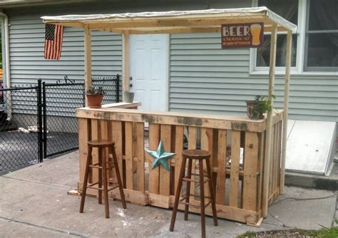 build outdoor with pallets i made a backyard bar out of pallets backyard bar