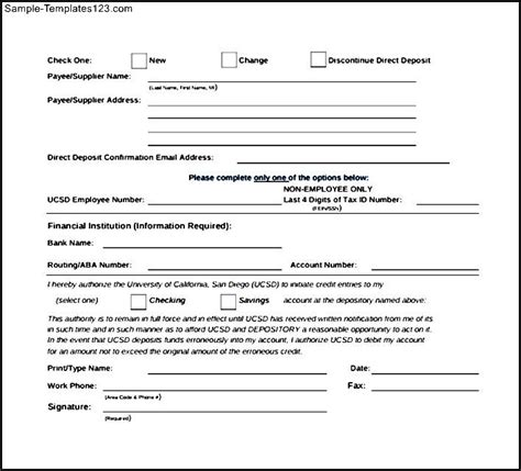 bank authorization letter for direct deposit direct deposit authorization form direct deposit