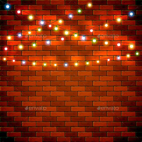 christmas background with colorful lights on brick wall by