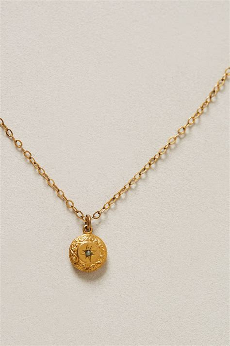 anthropologie etched lumina vintage pendant necklace in