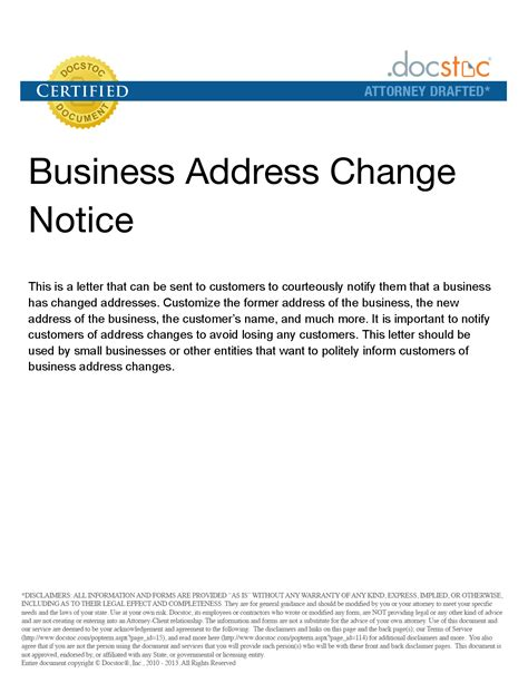 Business Letter Change Of Address Template best photos of template notice of name change company