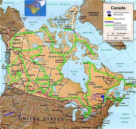 map of us and canada highways the great canadian road trip map