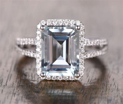 Emerald Cut Ring by 1 228 Emerald Cut Aquamarine Engagement Ring Pave