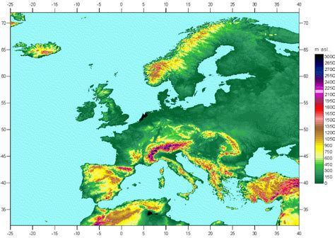 europe elevation map topographical map of europe