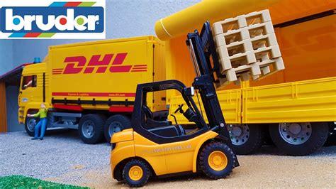 bruder truck bruder toys dhl truck and forklift work