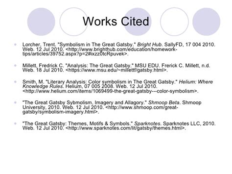 symbols in the great gatsby millett smith powerpoint