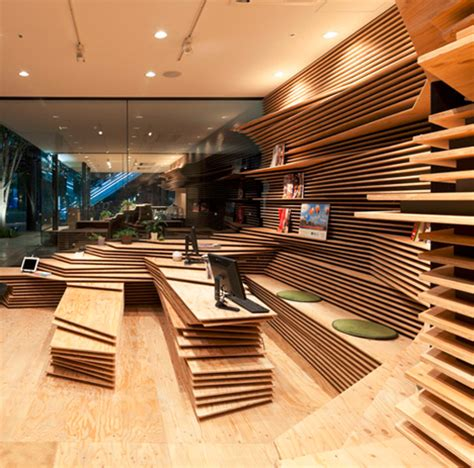 Rooms With Black Walls topographic interiors pair of stacked plywood storefronts