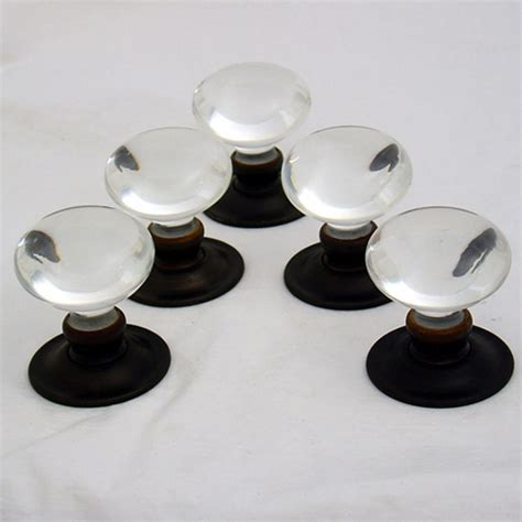 Handmade Glass Door Knobs - handmade glass clear smooth bun door knobs the period