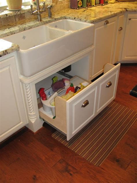 great idea for supplies under the kitchen sink too apron sink drawer great idea since it s always