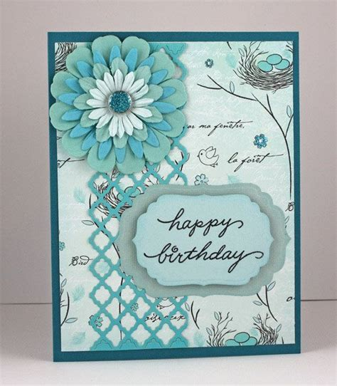 Birthday Handmade Cards - birthday card handmade card aqua turquoise flower