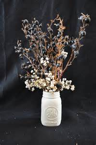 Mason Jar Centerpieces Ideas by Winter Wedding Cotton Bouquets And Place Settings One