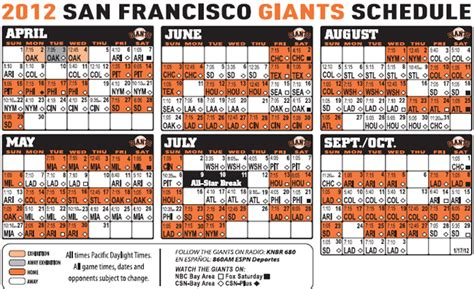 sf giants 2012 schedule