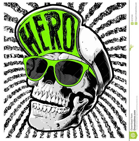 skull head wearing a hat stock vector image of design