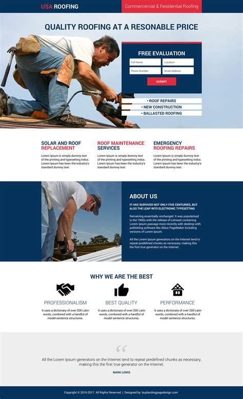 Usa Roofing And Construction Leads Lp 06 Roofing Landing Page Design Preview Lead Generation Website Template