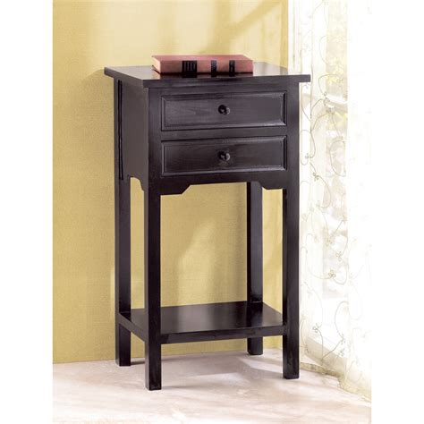 Black Side Table Black Telephone Side Table With 2 Drawers One Shelf Tables