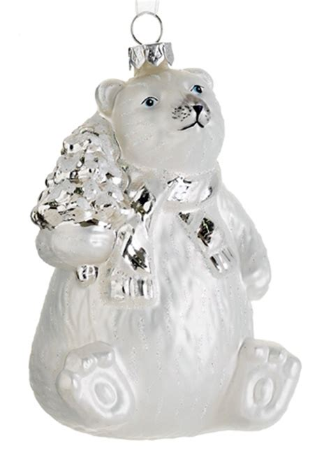 xgm787 wh si 4in glass polar bear ornament white silver