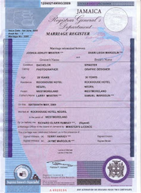Jamaican Marriage Records Marriage Certificate Jamaica