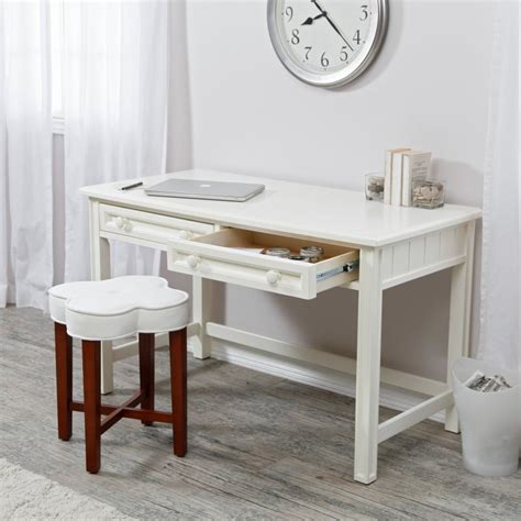 Small Decorative Desk Small Writing Desk White Wood Table Home Office Living Room Den Furniture Decor Desks Home