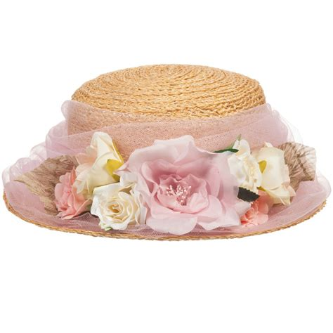 Flower Straw Hat grevi straw hat with pink tulle flowers