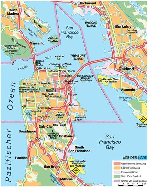 san francisco bridges map map of san francisco united states usa map in the