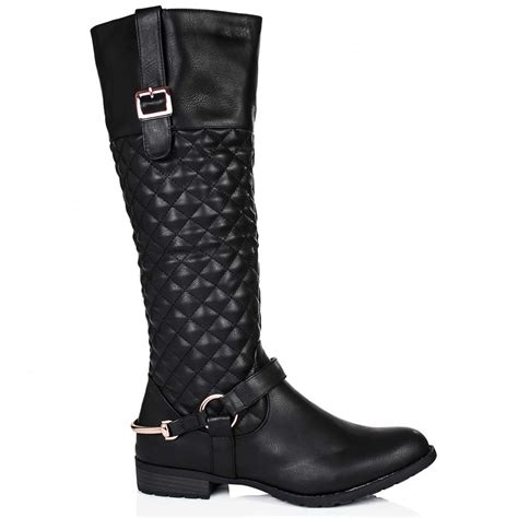 buy flat quilted buckle knee high boots black