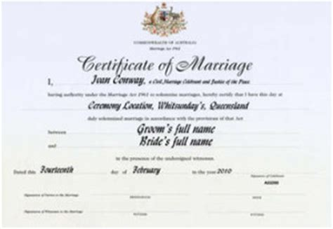 certificate template australia marriage certificate template australia images