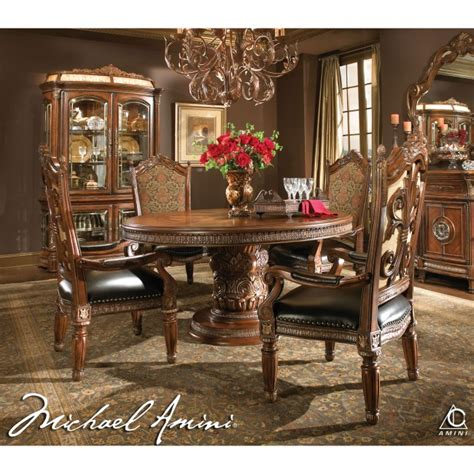 aico dining room sets michael amini 5pc villa valencia round oval dining table