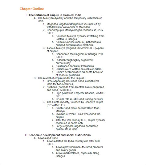 chapter outline template 7 free sle exle format