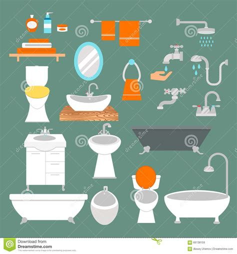 bathtub illustration bathroom and toilet flat style vector icons isolated on