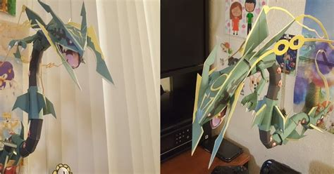 Rayquaza Papercraft - papercraft mega rayquaza