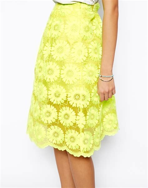 yellow patterned skirt lyst asos midi skirt in floral lace in yellow