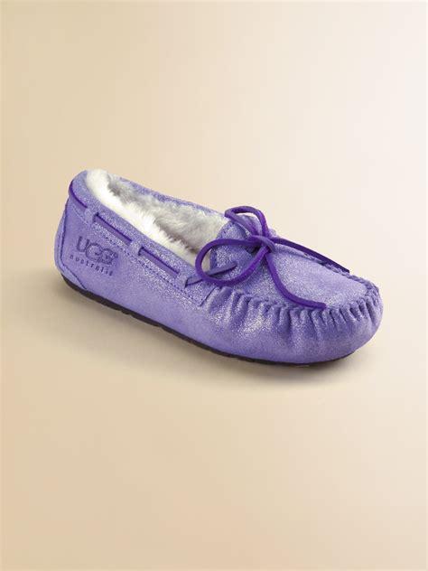 purple ugg slippers ugg dakota glitter slippers in purple provence lyst