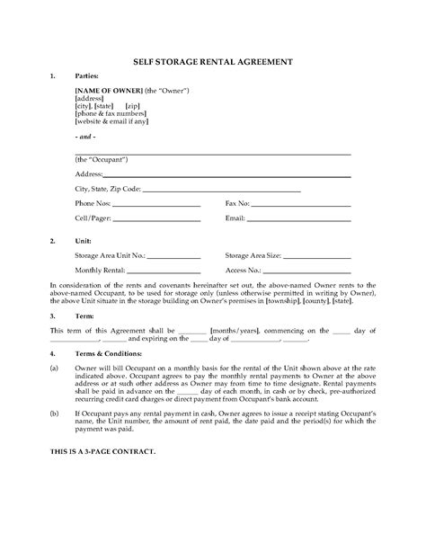storage rental agreement template usa self storage unit rental agreement forms and