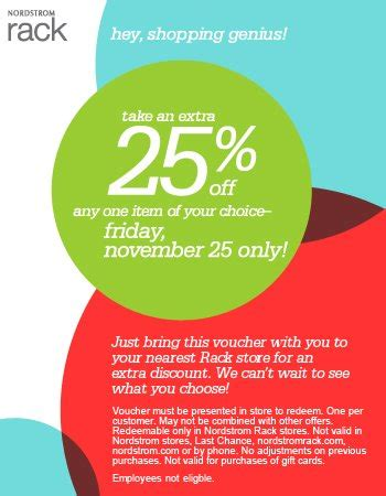 Nordstrom Rack Coupon Codes by Nordstrom Rack Black Friday Coupon 25 Any 1 Item