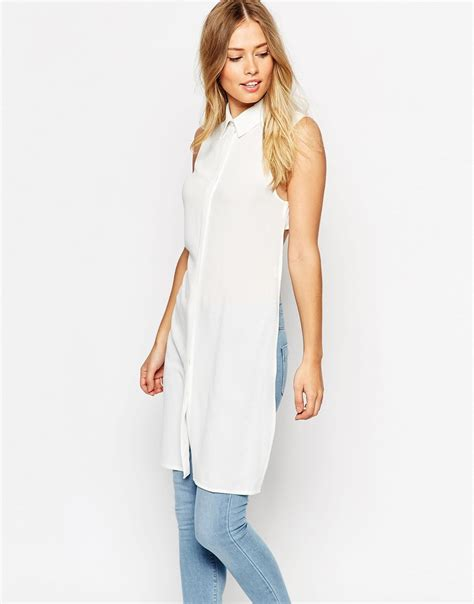 Maxi Blouse lyst asos open back longline maxi blouse in white