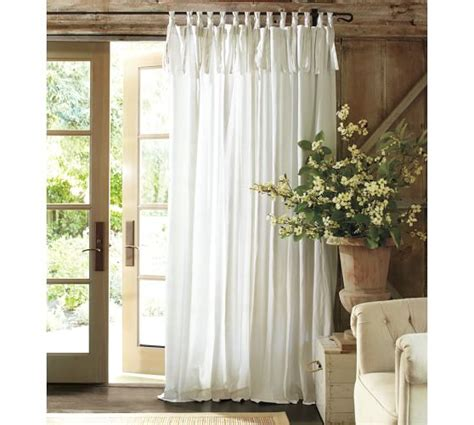 pottery barn curtain panels textured cotton tie top drape pottery barn