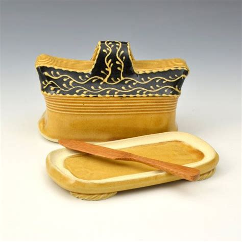 handmade butter dish with butter knife ready by